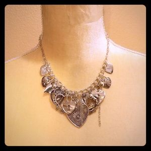 New Heart Charm Statement Necklace